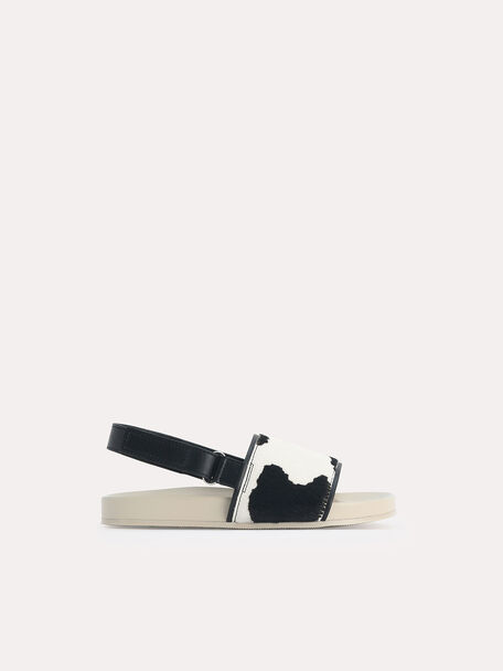 Cow Printed Slingback Sandals, Sand, hi-res