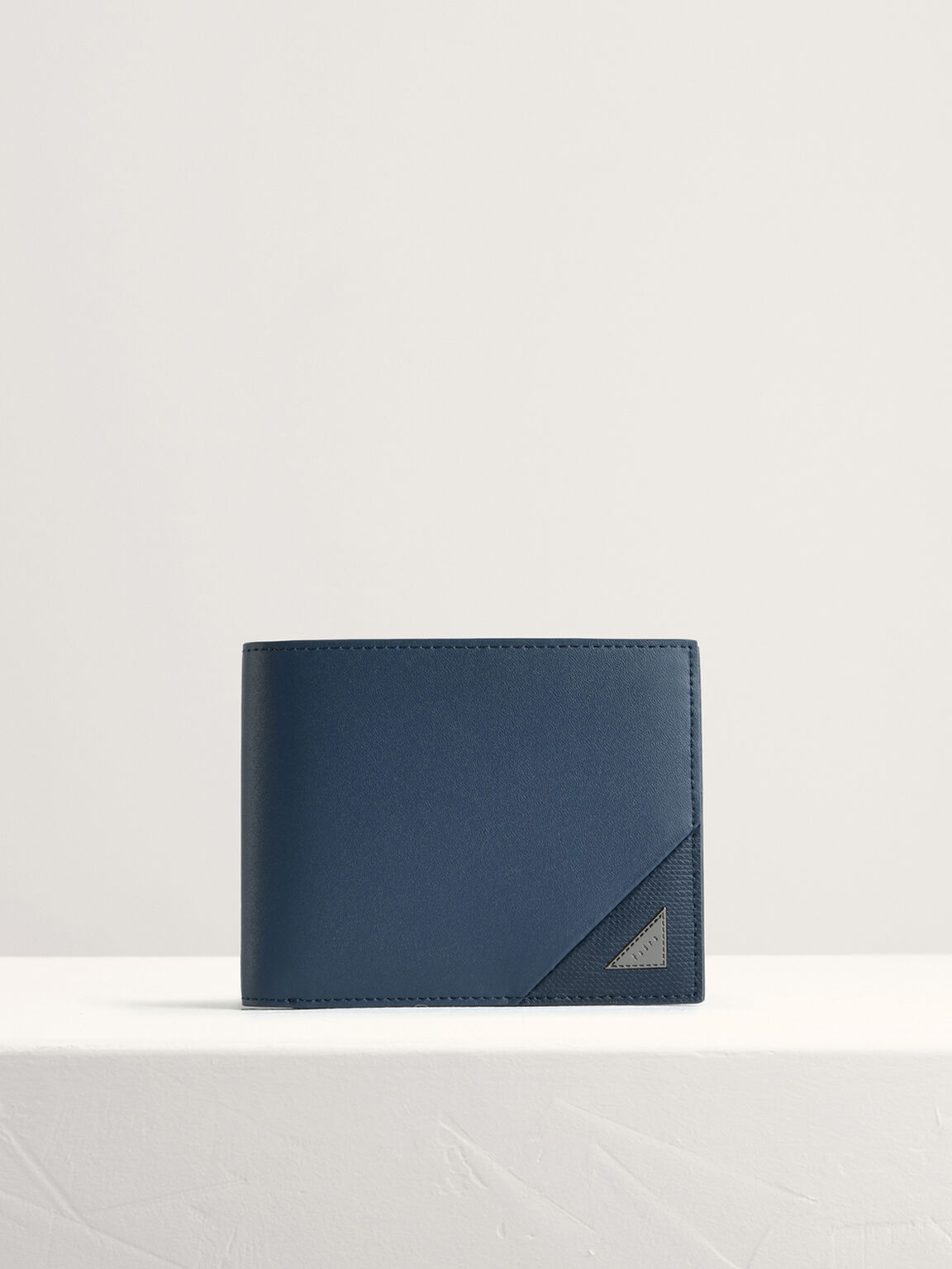 Leather Bi-Fold with Insert, Navy, hi-res