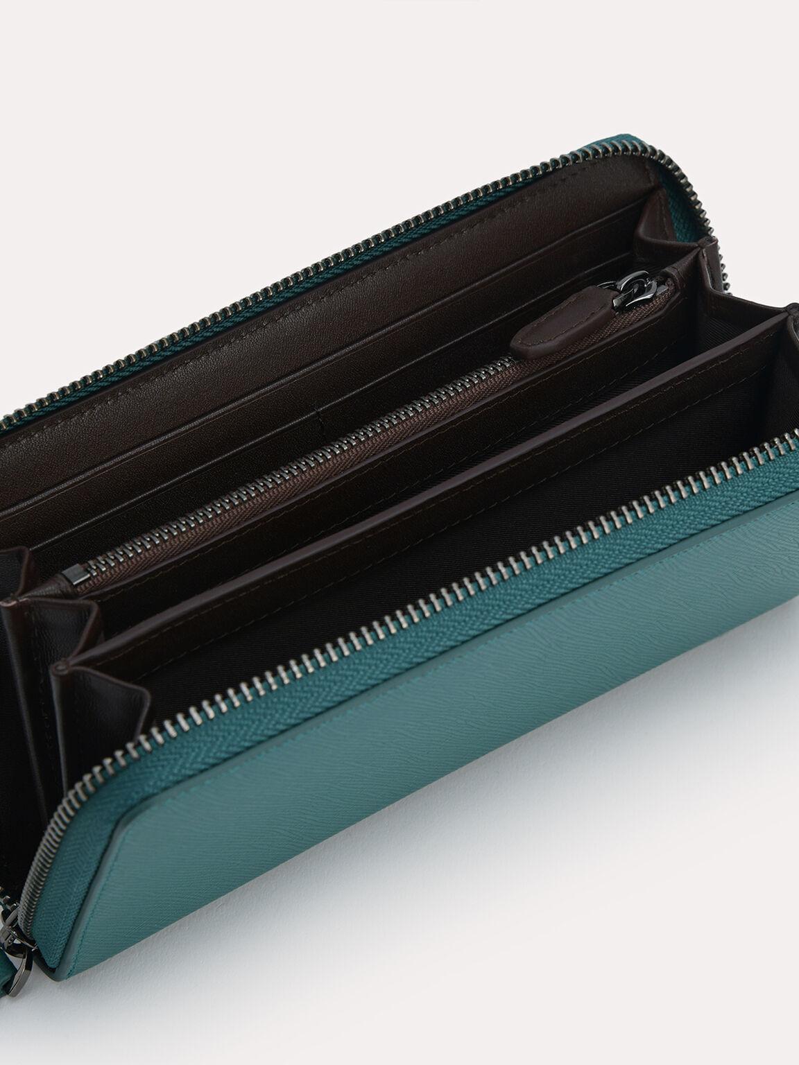 Long Leather Wallet, Dark Green, hi-res