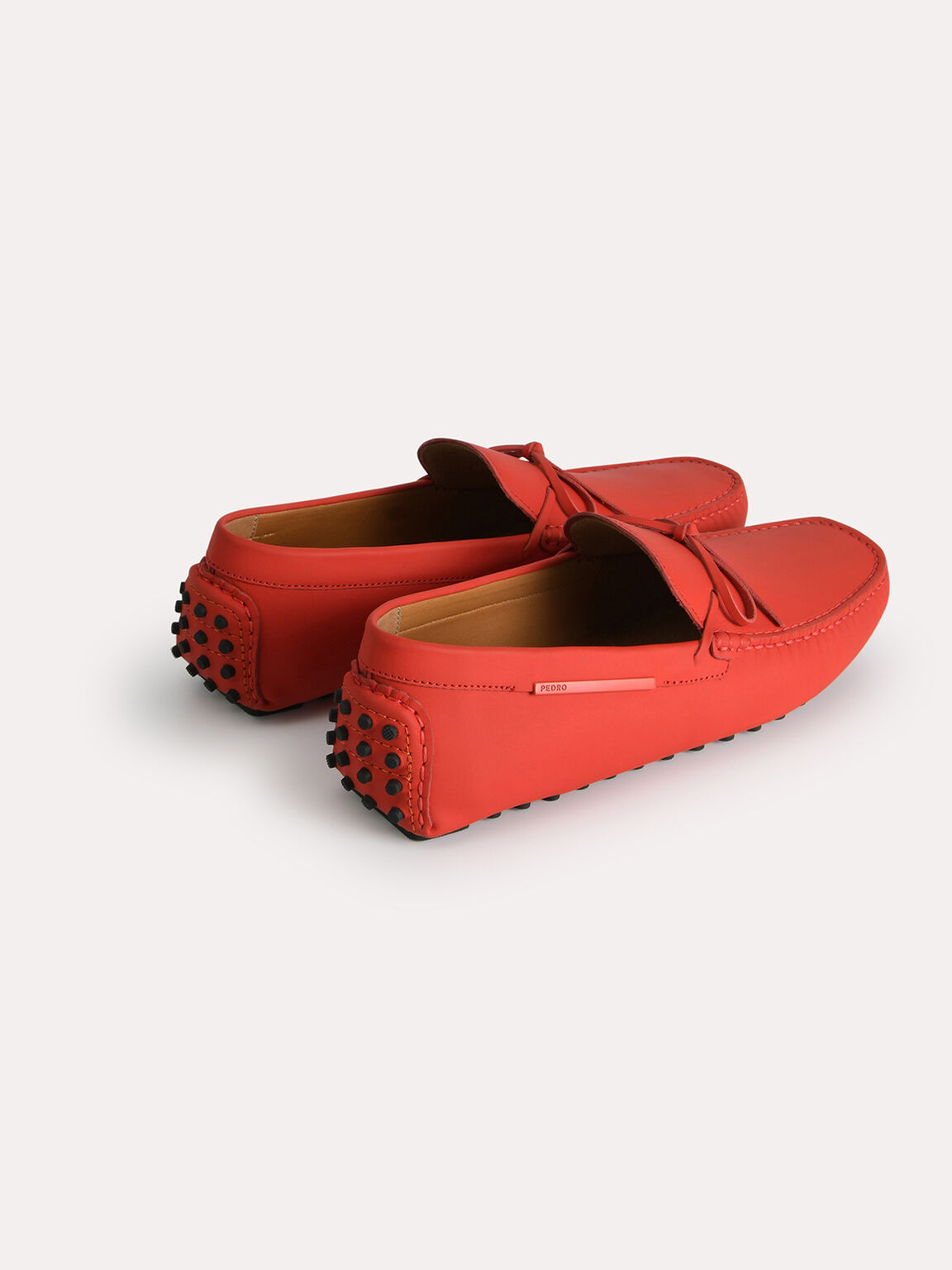 Leather Moccasins with Bow Detailing, Red, hi-res