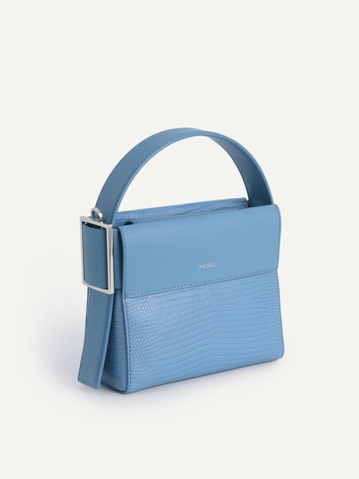 Lizard-Effect Leather Mini Bag, Cyan, hi-res