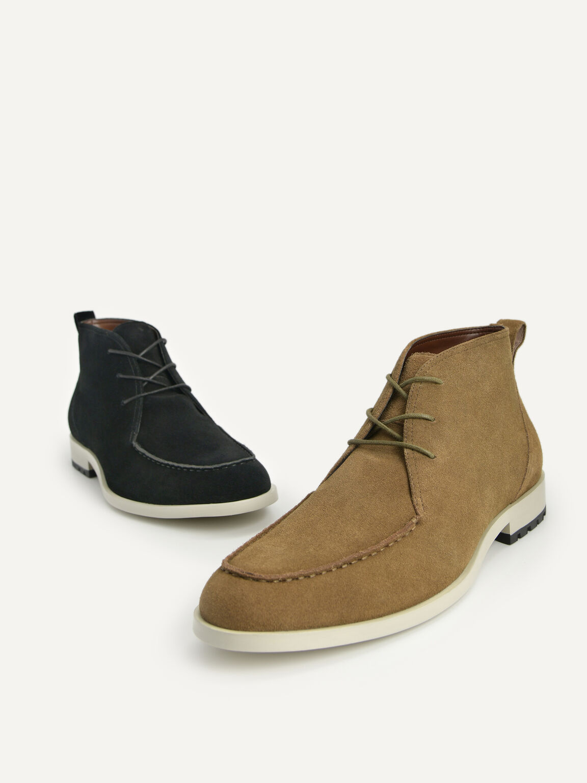 Suede Leather Boots, Olive, hi-res
