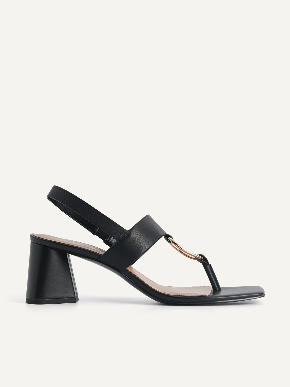 Leather Heeled Sandal With Gold Buckle, Black, hi-res