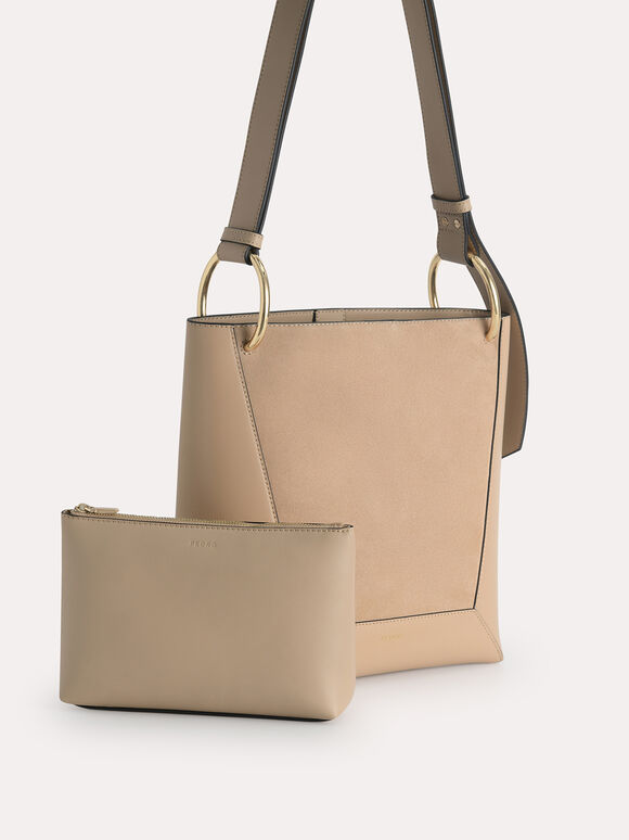 Leather Hobo Tote, Camel, hi-res