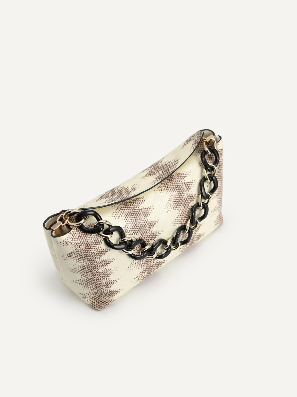 Snake-Effect Leather Hobo Top Handle Bag, Multi, hi-res