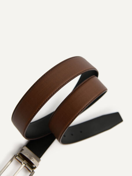 Leather Reversible Pin Belt, Brown, hi-res