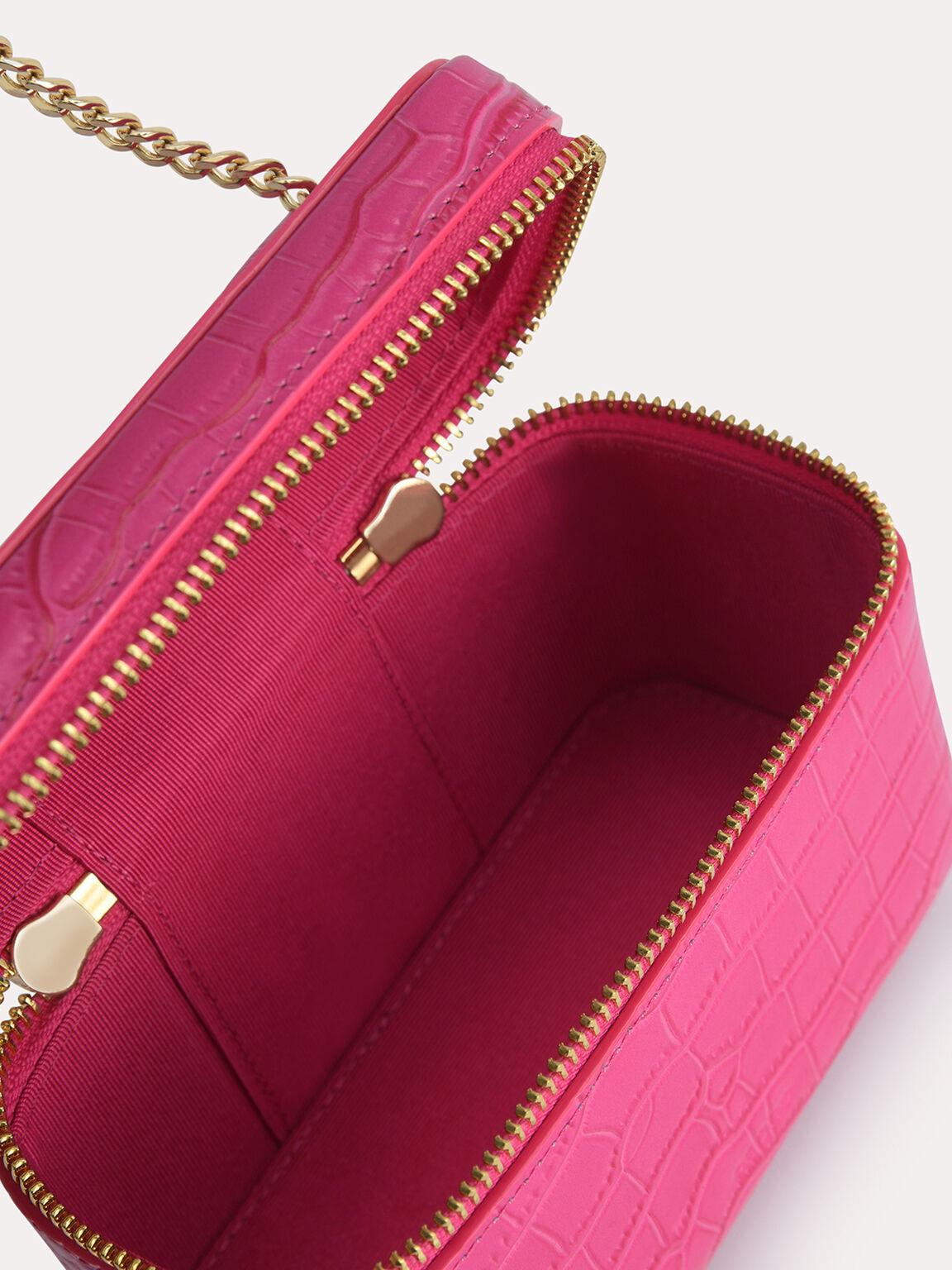 Textured Leather Vanity Case, Fuchsia, hi-res