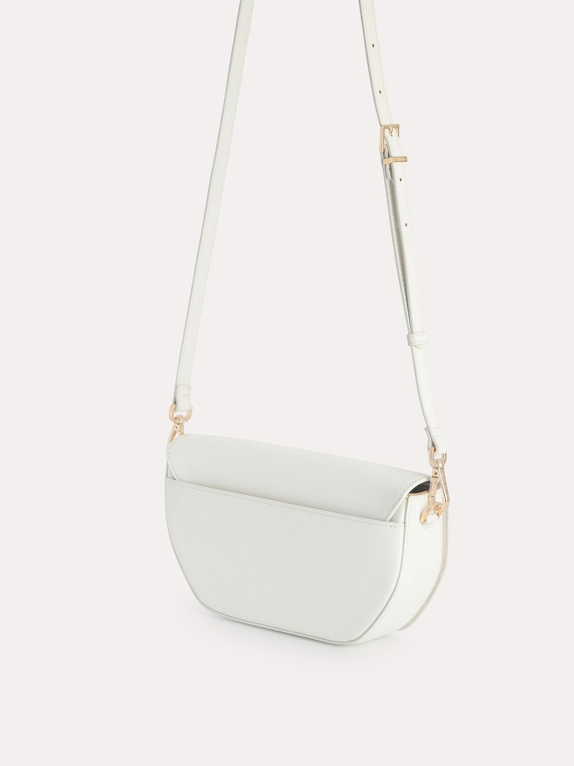 Leather Shoulder Bag with Scarf Top Handle, Chalk, hi-res