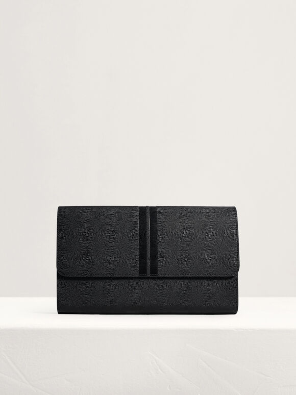 Striped Leather Clutch, Black, hi-res