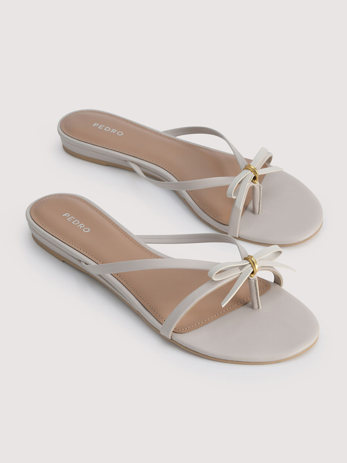 Strappy Thong Sandals, Cream, hi-res