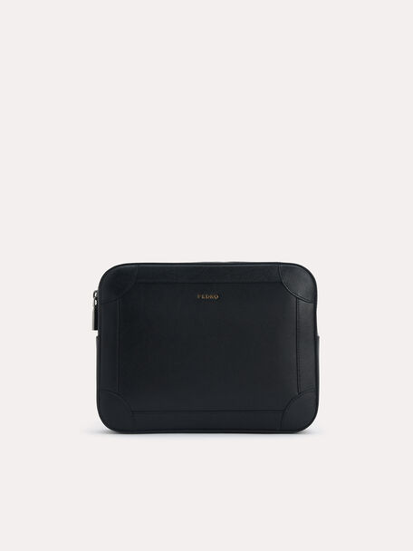 Textured Leather Clutch with Wristlet, Black, hi-res