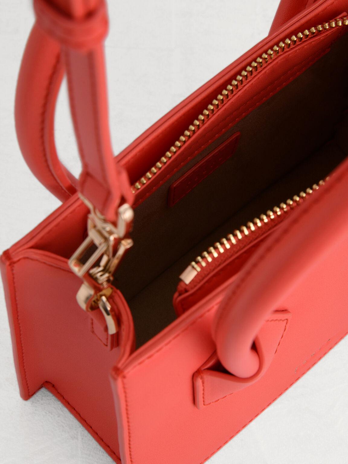 Structured Top Handle Bag, Coral, hi-res