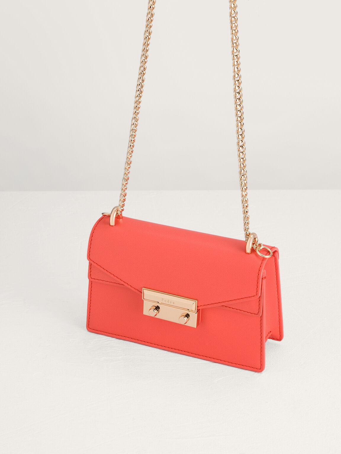 Structured Shoulder Bag, Coral, hi-res