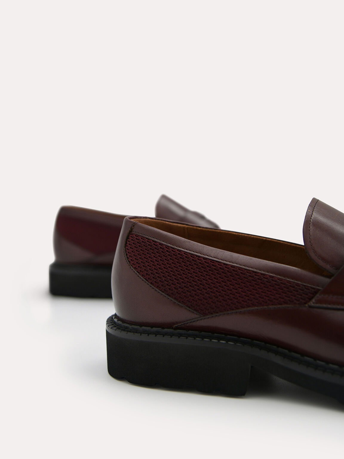 Burnished Leather Penny Loafer, Maroon, hi-res