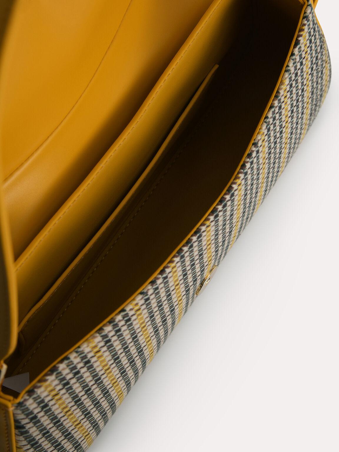 Houndstooth Rectangular Top Handle Bag, Mustard, hi-res