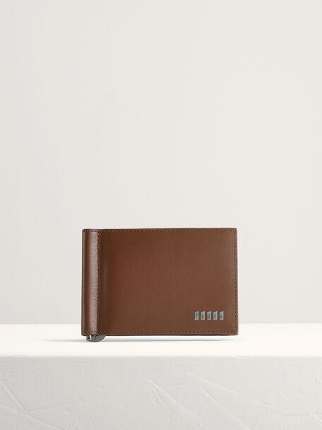 Embossed Bi-Fold Card Holder with Money Clip, Cognac, hi-res
