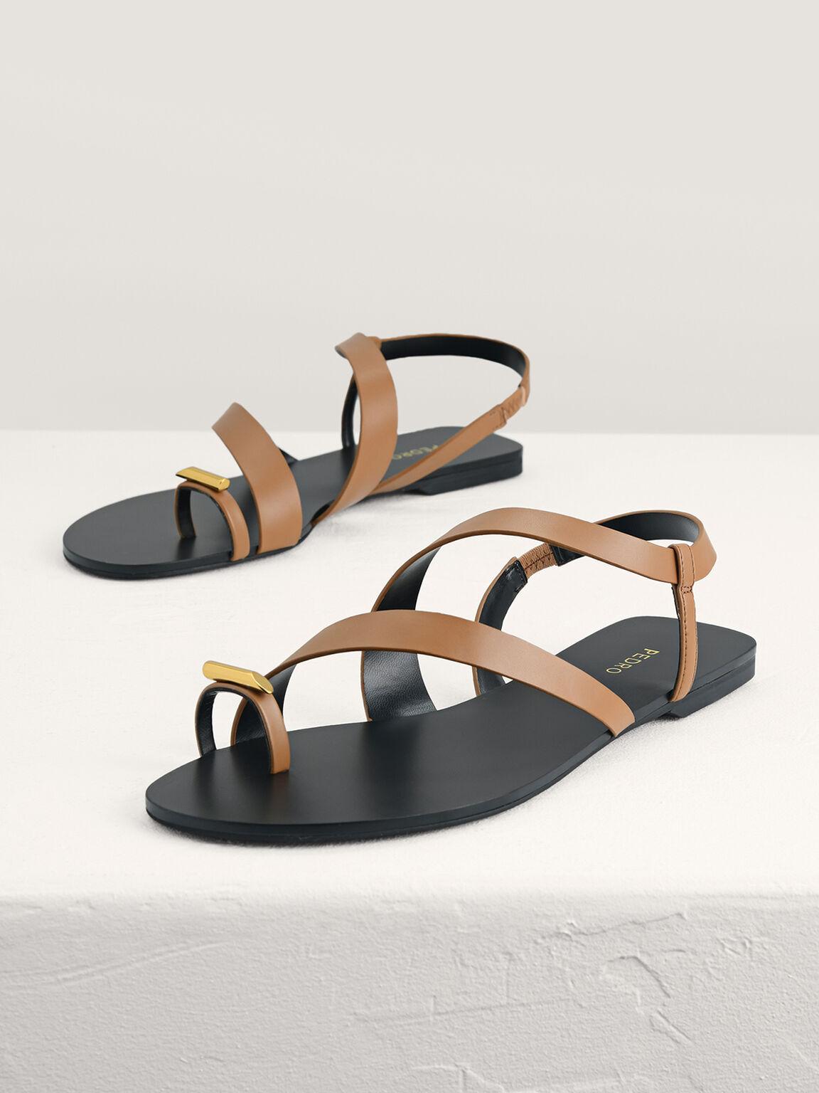 Toe Loop Slingback Sandals, Camel, hi-res