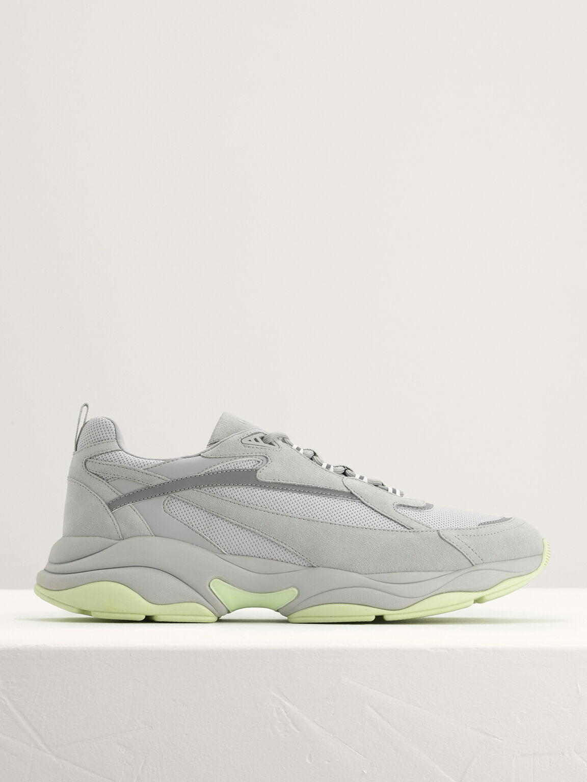 Chunky Suede and Mesh Sneakers, Light Grey, hi-res