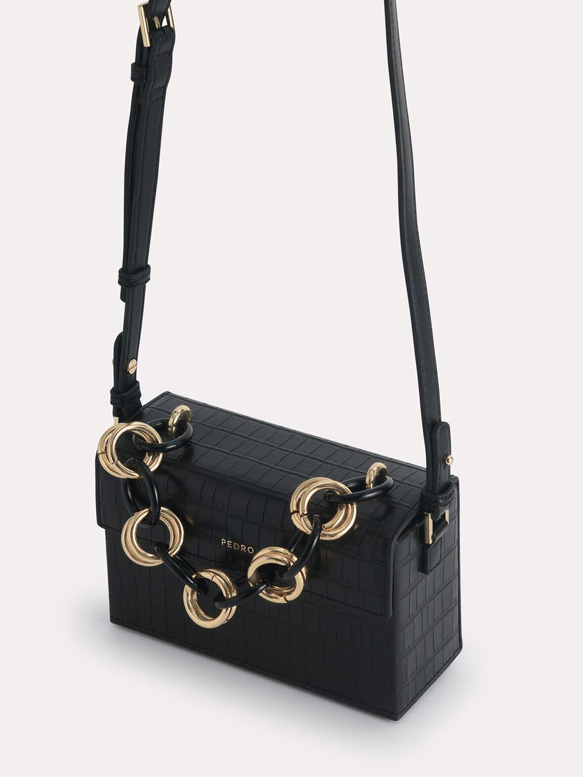 Croc-Effect Boxy Shoulder Bag, Black, hi-res