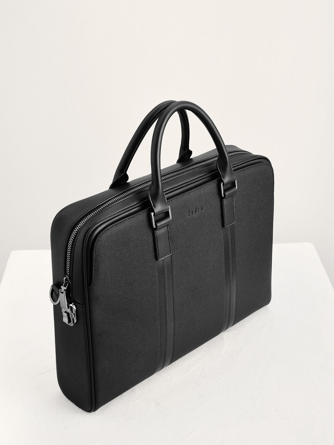 Leather Briefcase with Lock, Black, hi-res