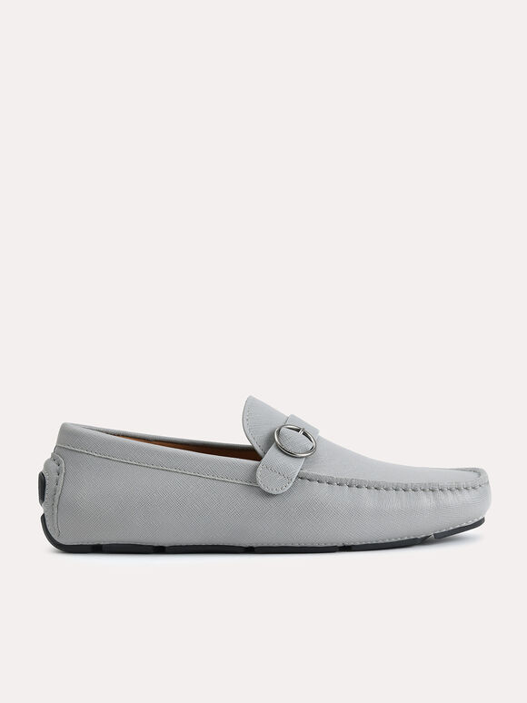 Textured Leather Moccasins with Buckle Detailing, Grey, hi-res