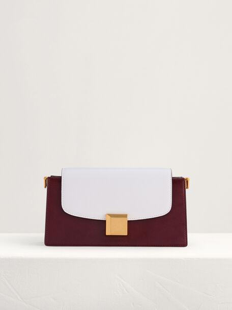 Gold Buckled Mini Shoulder Bag in Two-Tone, Multi, hi-res