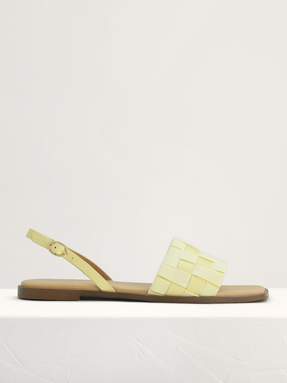 Braided Slingback Sandals, Yellow, hi-res