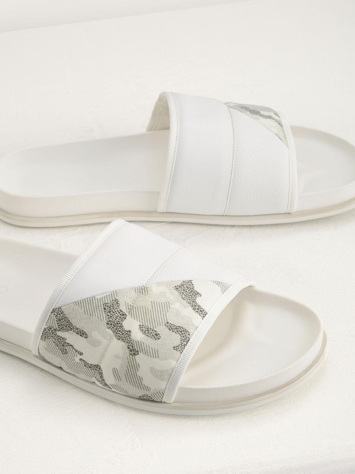 Camouflage Printed Sliders, White, hi-res