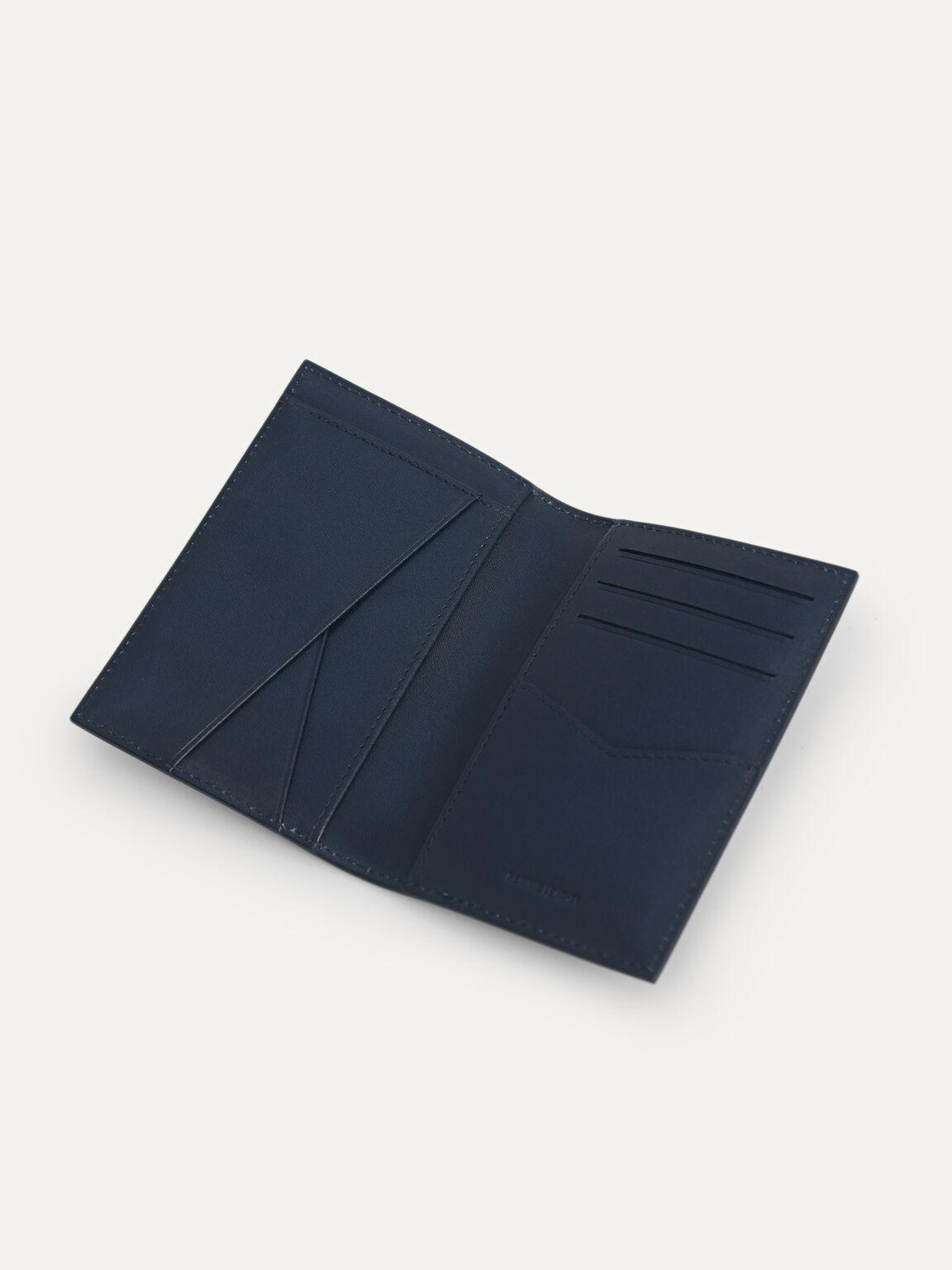 Textured Leather Bi-Fold Card Holder, Navy, hi-res