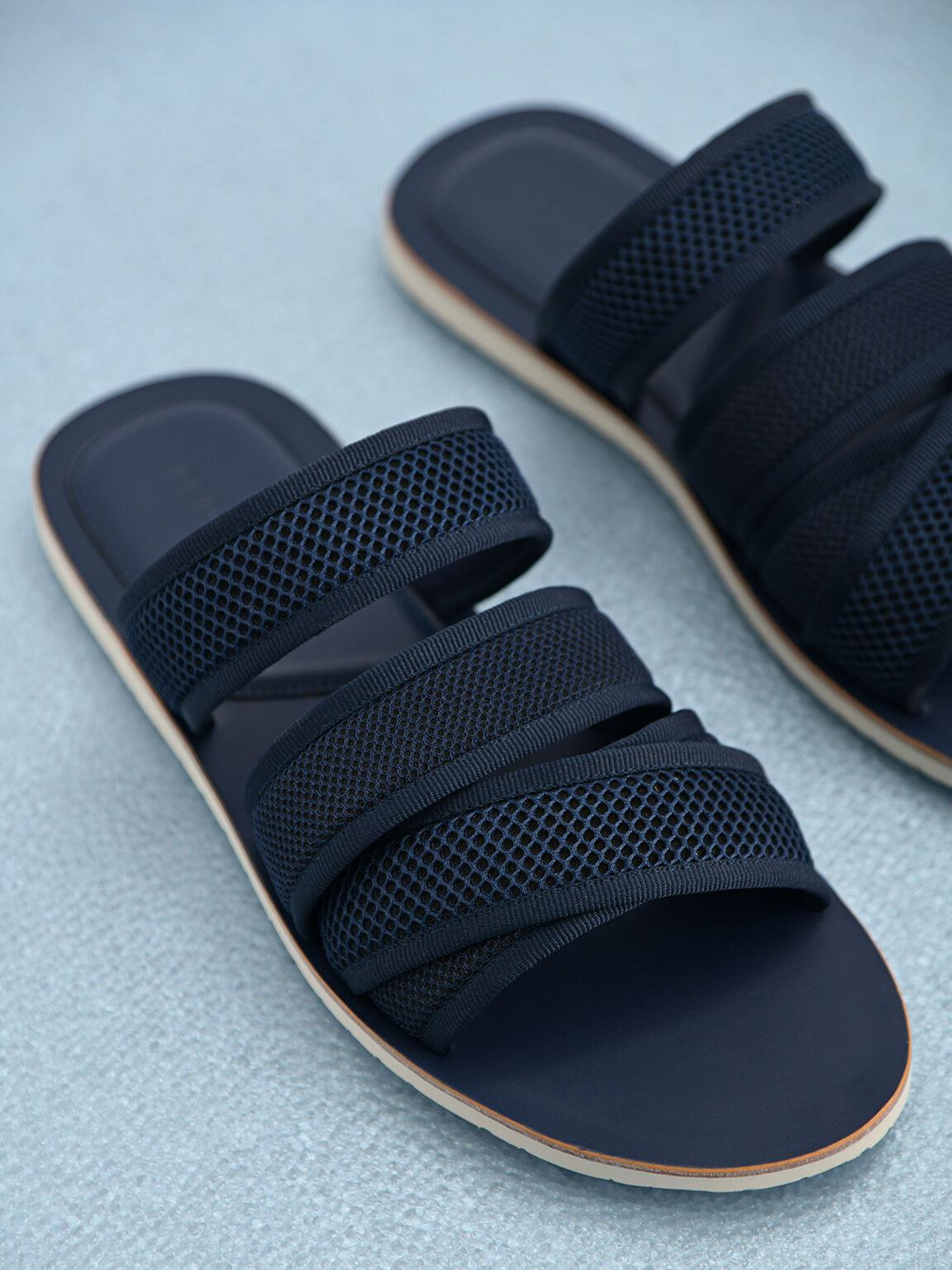 Strappy Mesh Sandals, Navy, hi-res