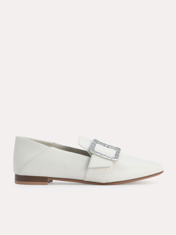 Leather Buckled Loafers, Chalk, hi-res