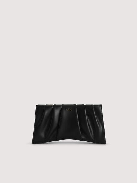 Ruched Shoulder Bag, Black, hi-res