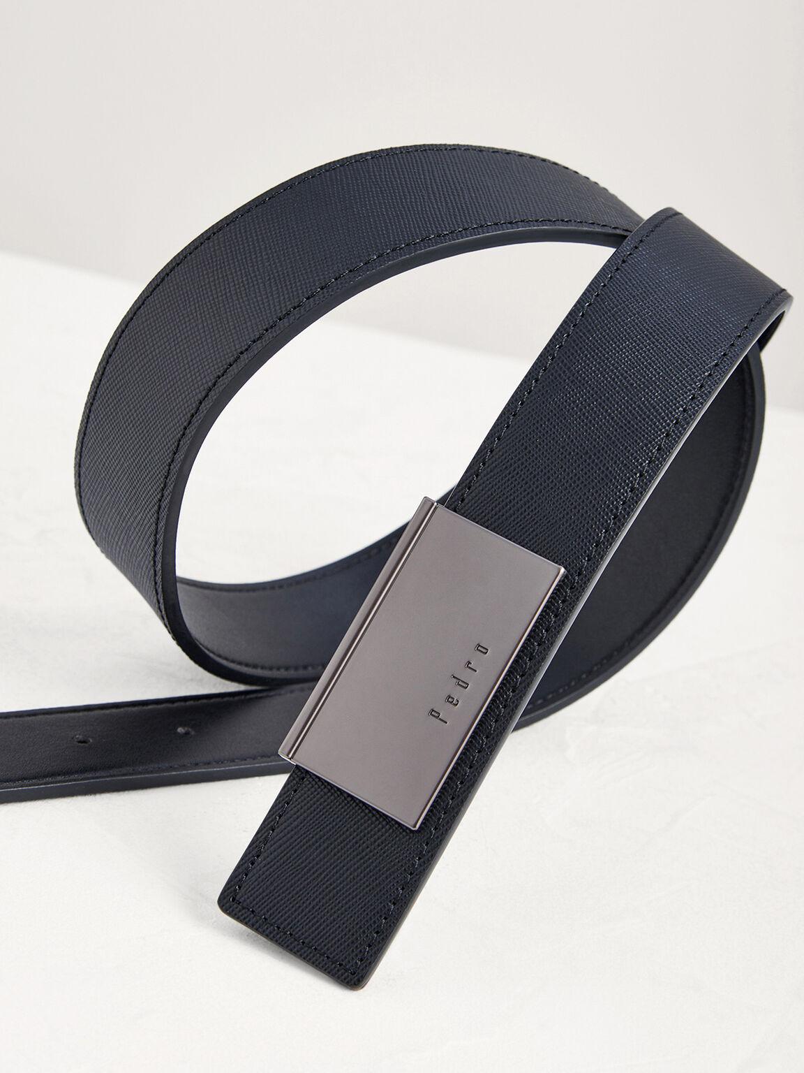 Leather Tang Belt, Black, hi-res