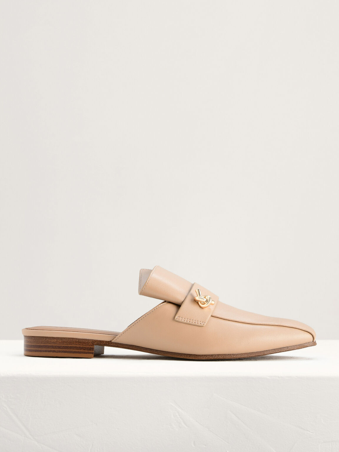 Knotted Embellished Mules, Taupe, hi-res