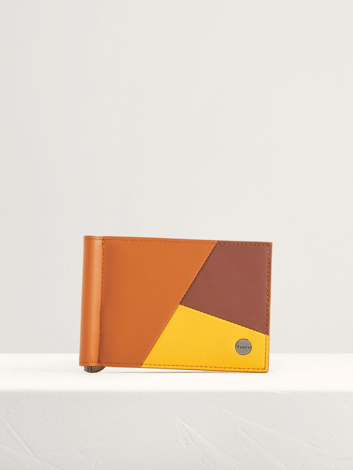 Colorblock Leather Bi-Fold Money Clip, Multi, hi-res