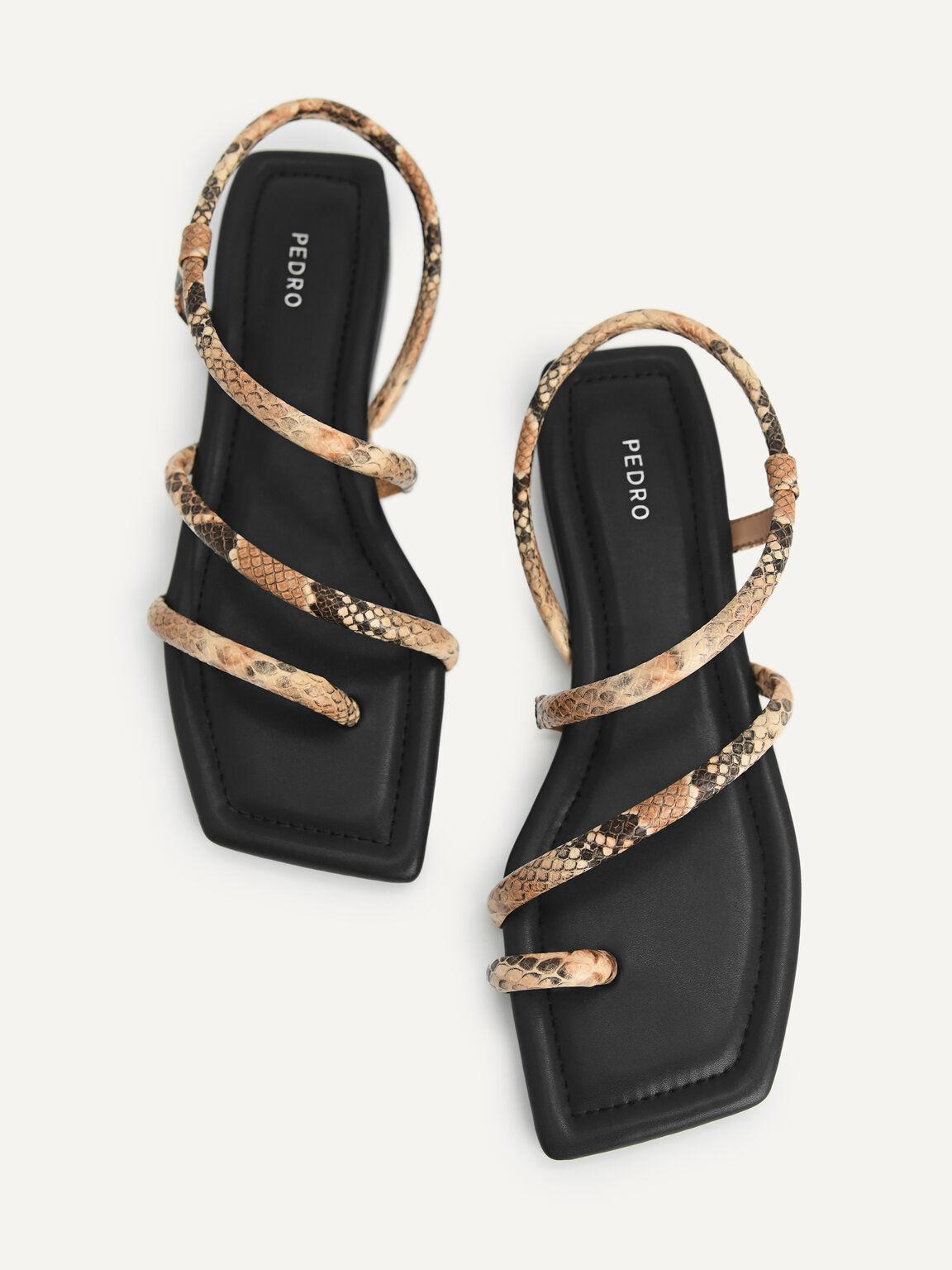 Snake-Effect Strappy Sandals, Multi, hi-res