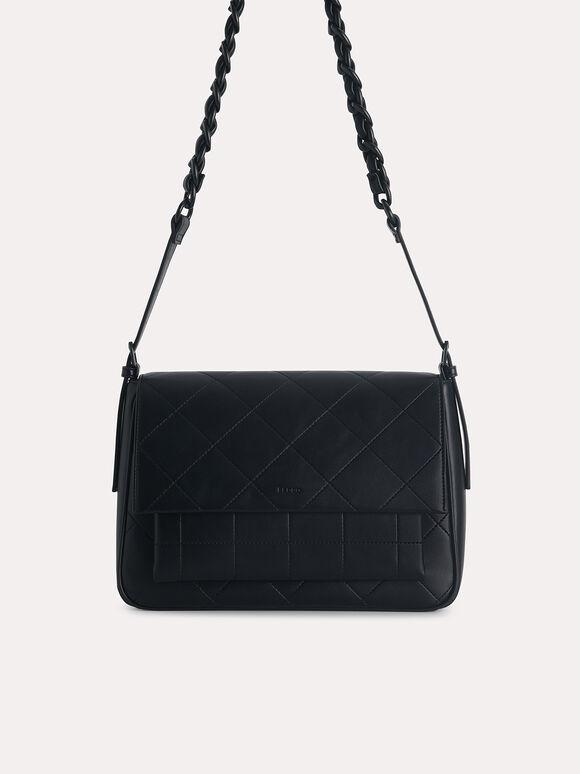Slouchy Shoulder Bag, Black, hi-res
