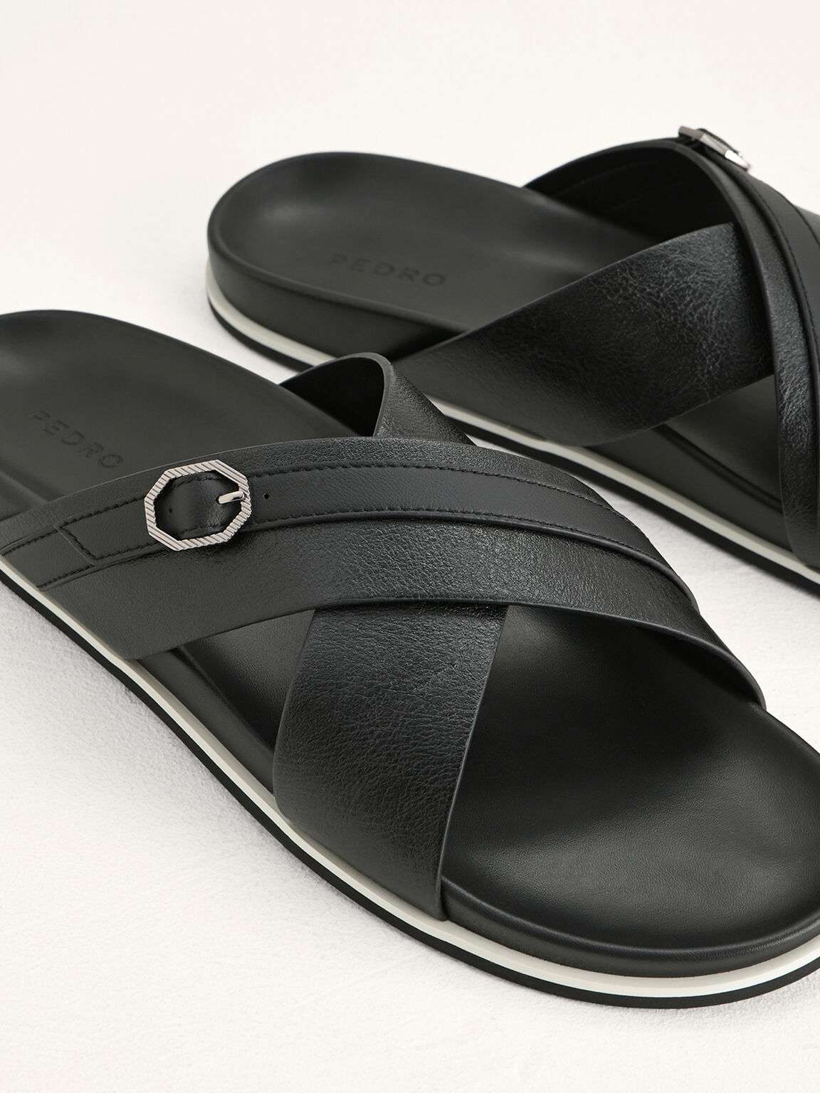 Criss-Cross Sandals with Octagon Hardware, Black, hi-res
