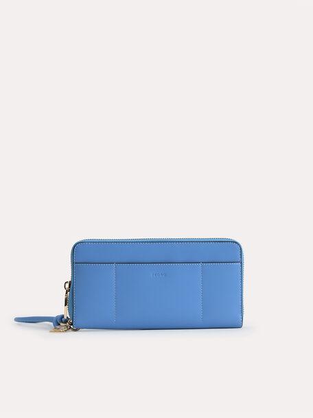 Long Leather Zip Wallet, Blue, hi-res