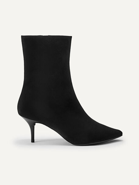 Suede Leather Ankle Boots, Black, hi-res