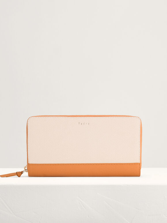 Leather Bi-Fold Long Wallet in Two-Tone, Chalk, hi-res