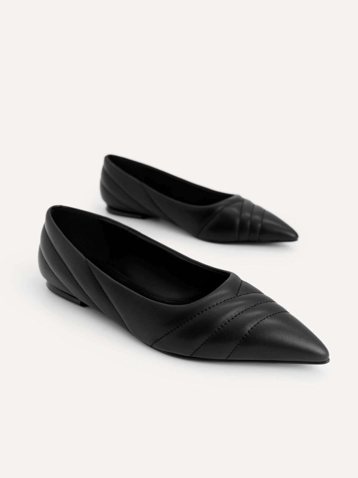 Pointed Toe Leather Flats, Black, hi-res