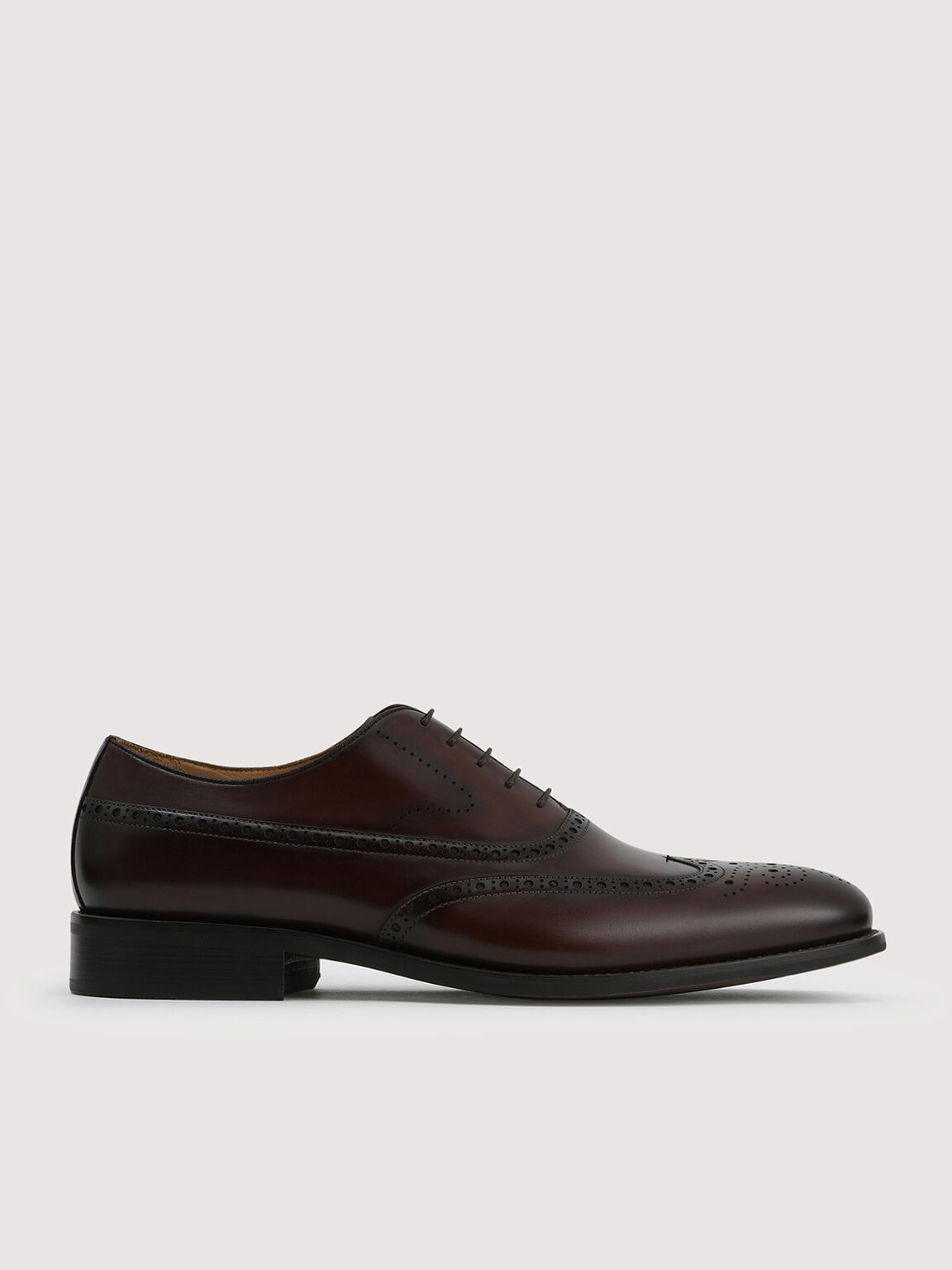 Brogue Leather Loafers, Brown, hi-res