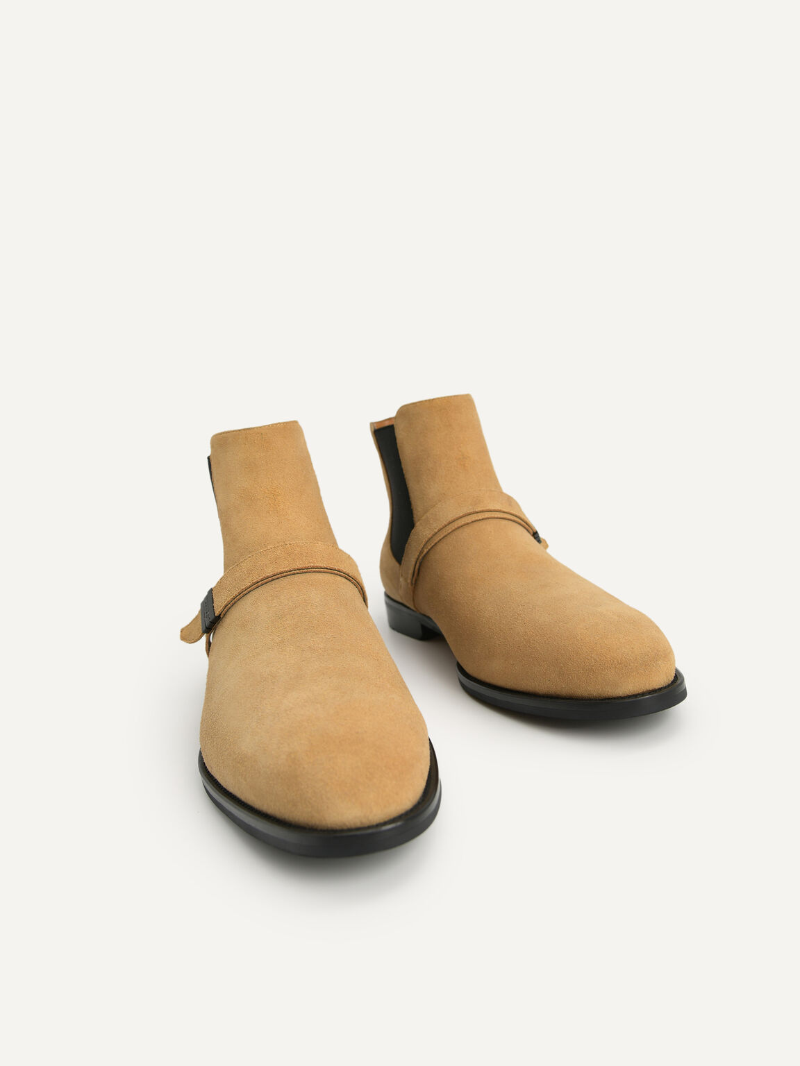 Suede Strapped Boots, Sand, hi-res