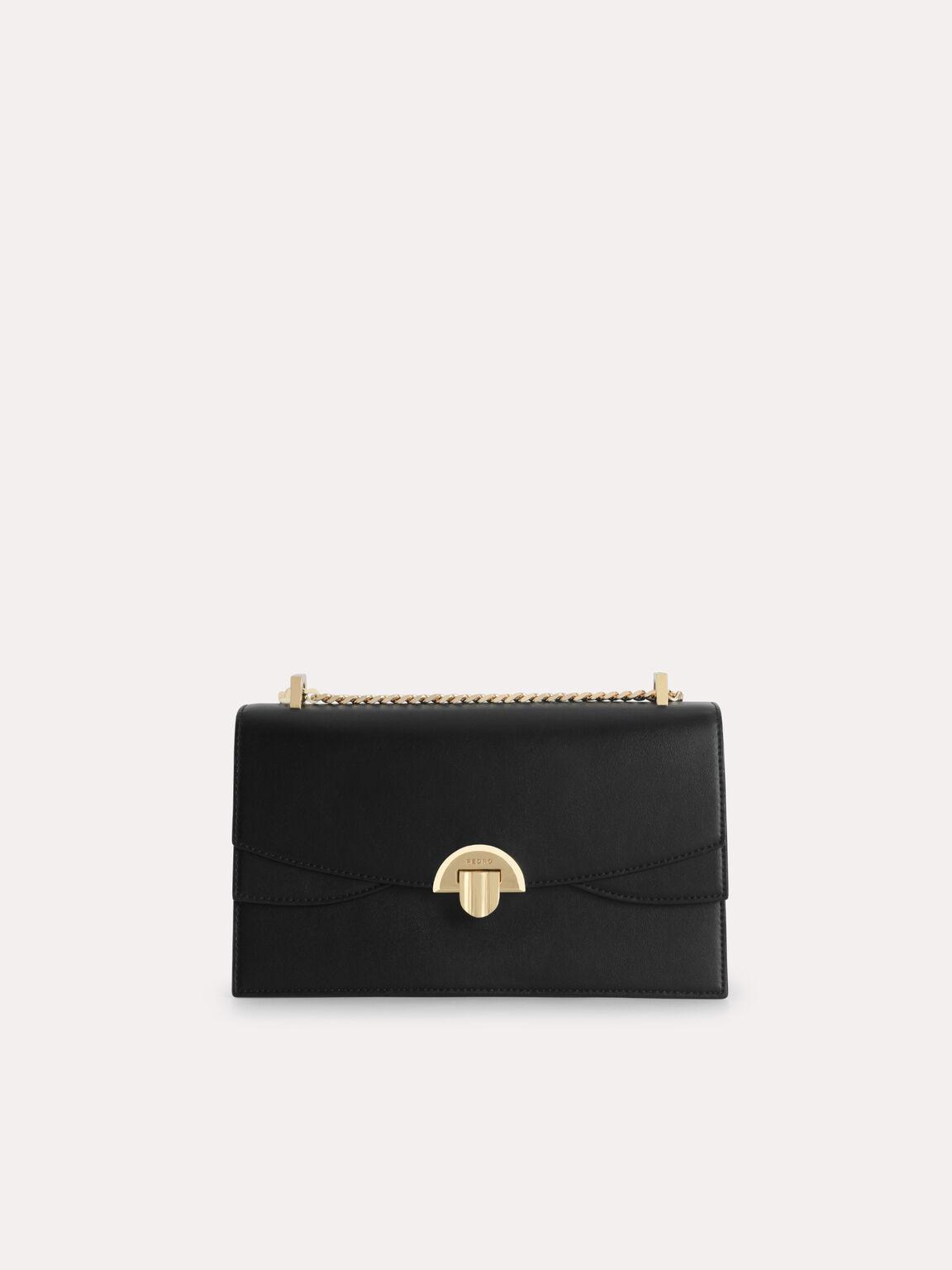 Shoulder Bag with Curved Flap, Black, hi-res
