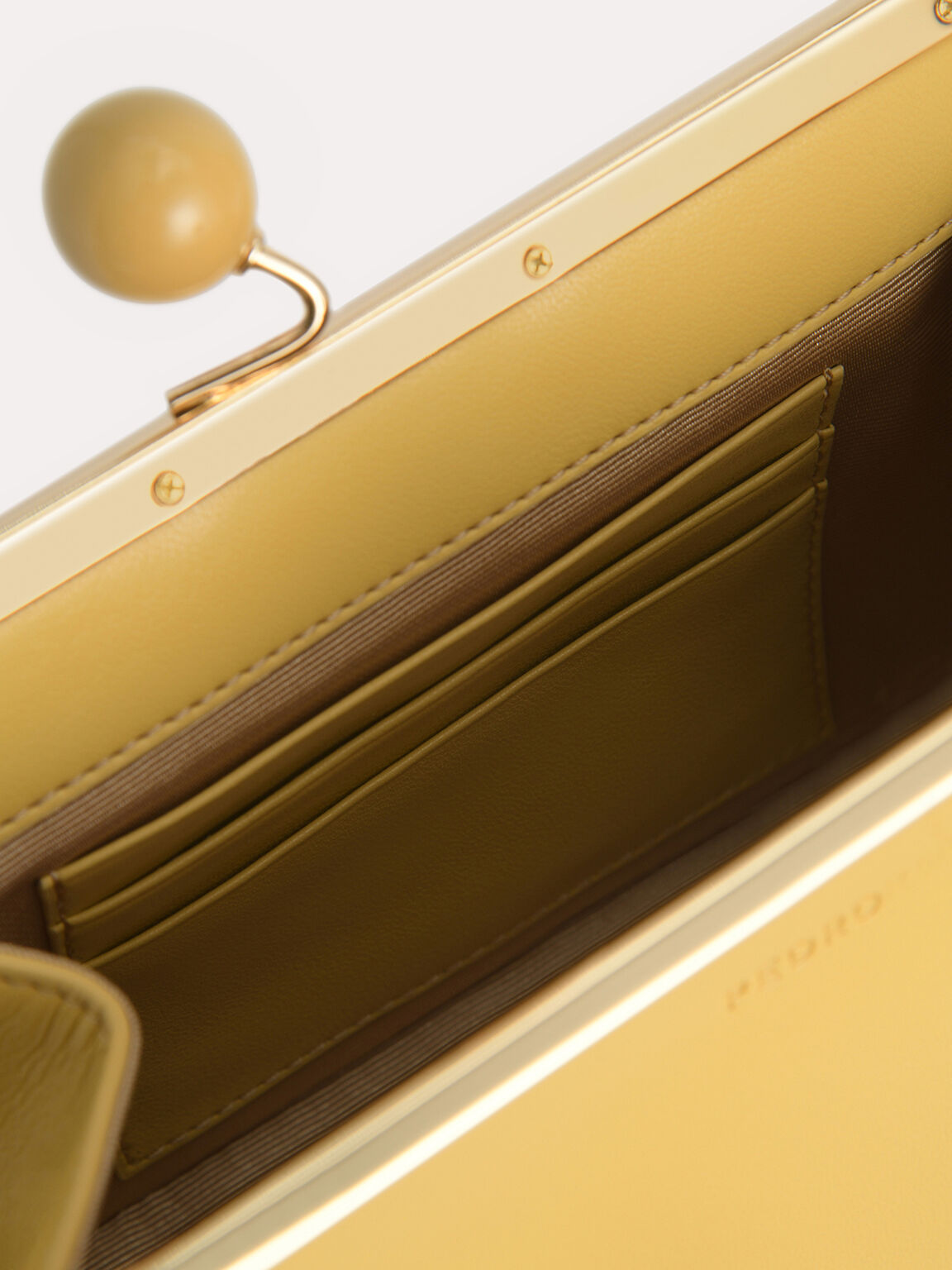 Shoulder Bag with Pearl Closure, Yellow, hi-res