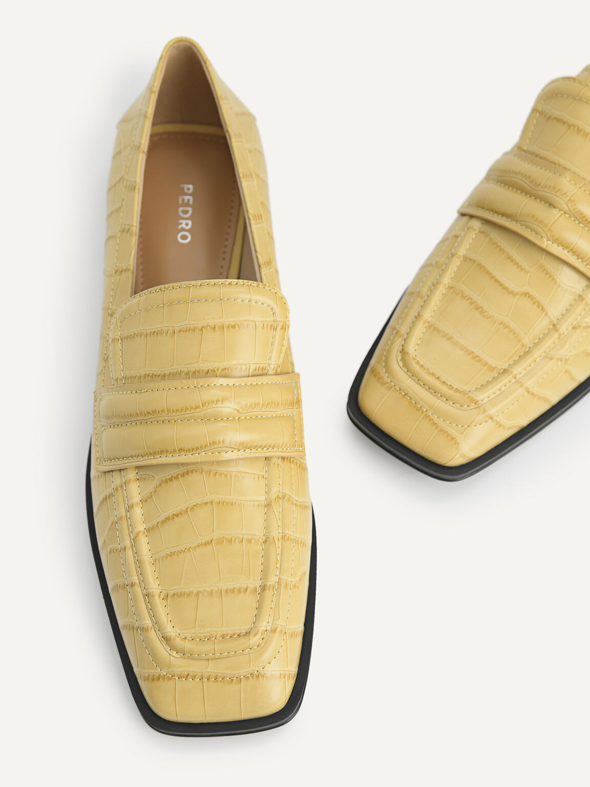 Croc-Effect Leather Loafers, Sand, hi-res