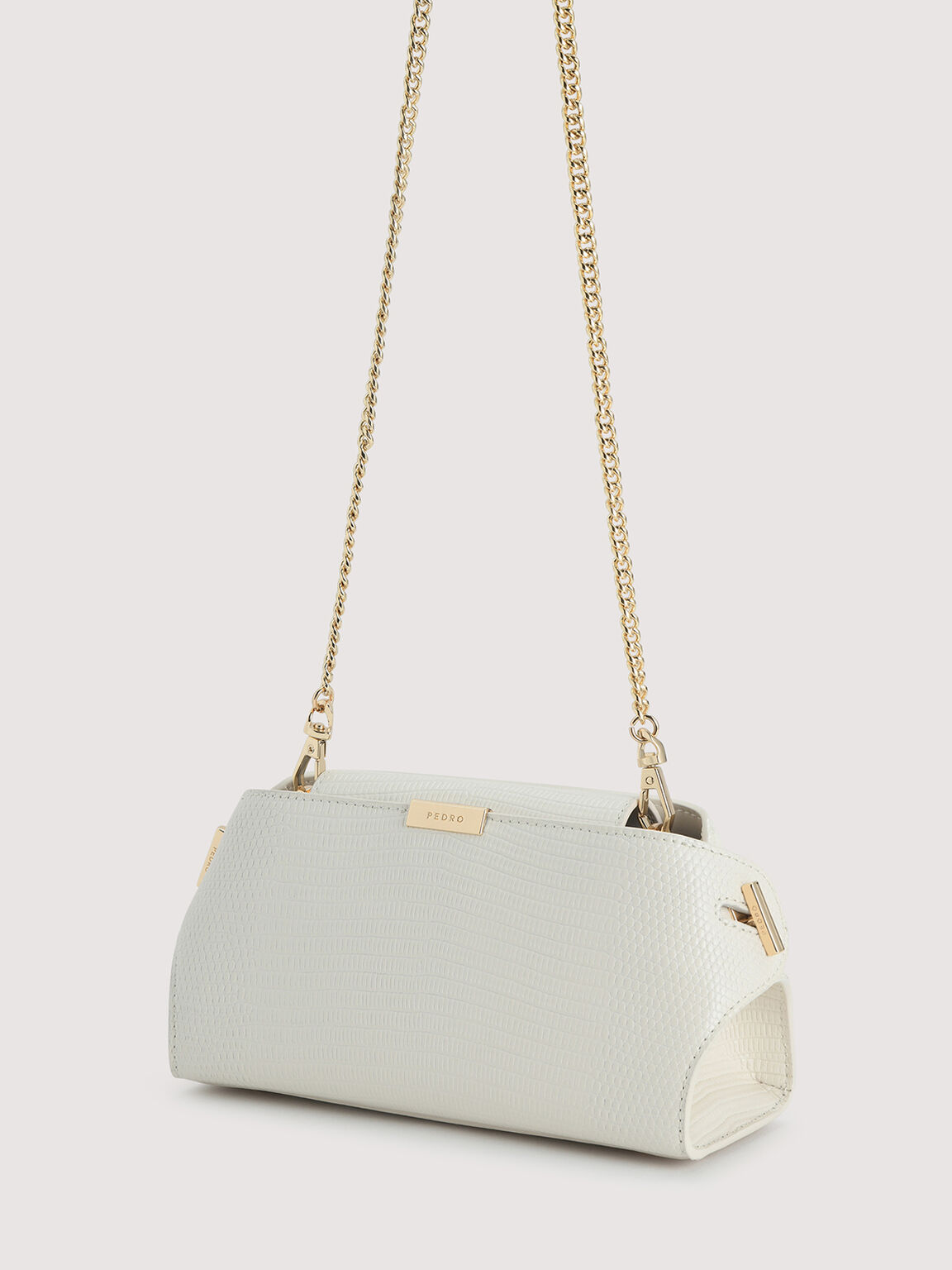 Embossed Leather Clutch, Chalk, hi-res