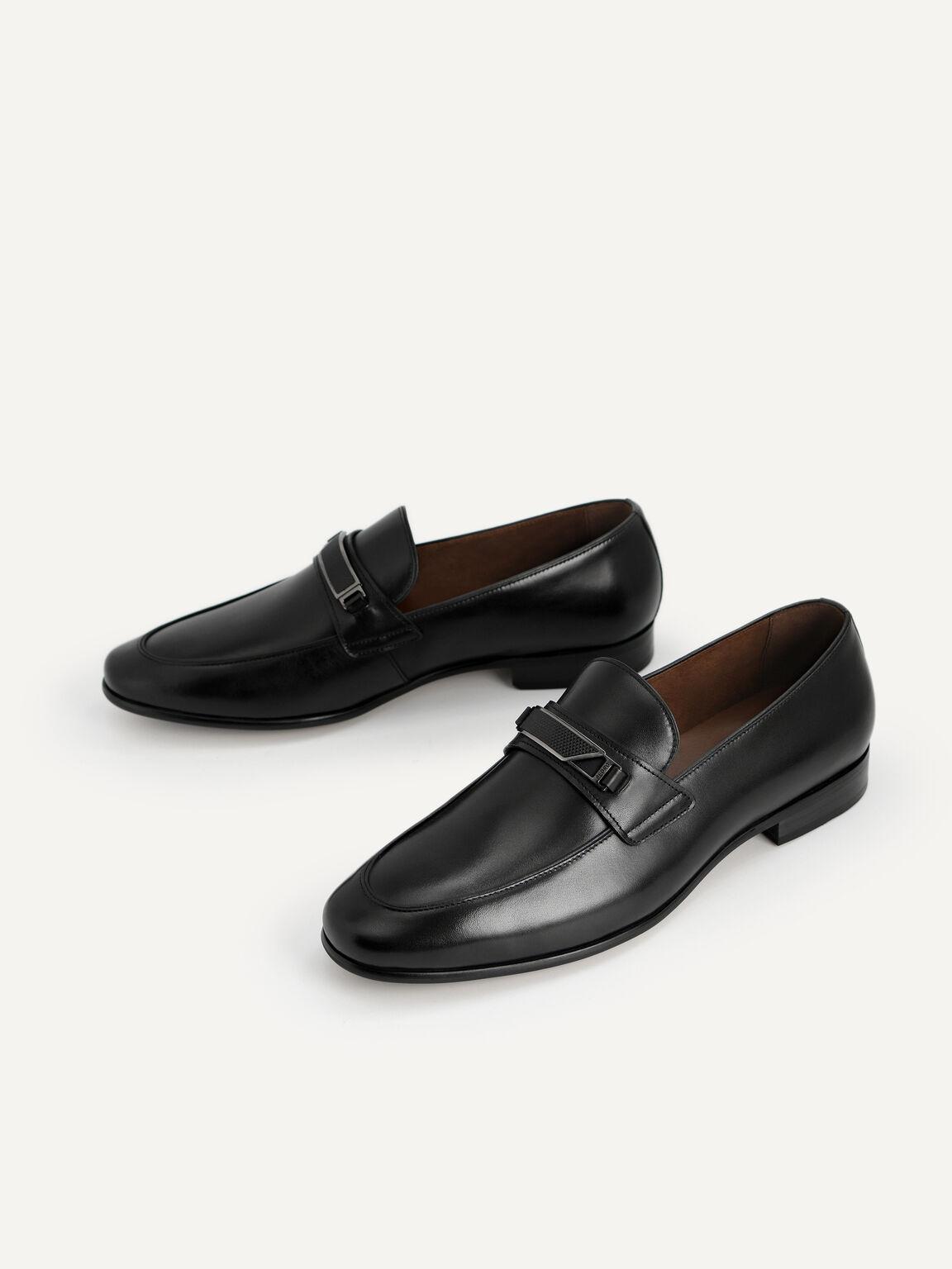 帶金屬裝飾皮革樂福鞋, 黑色, hi-res
