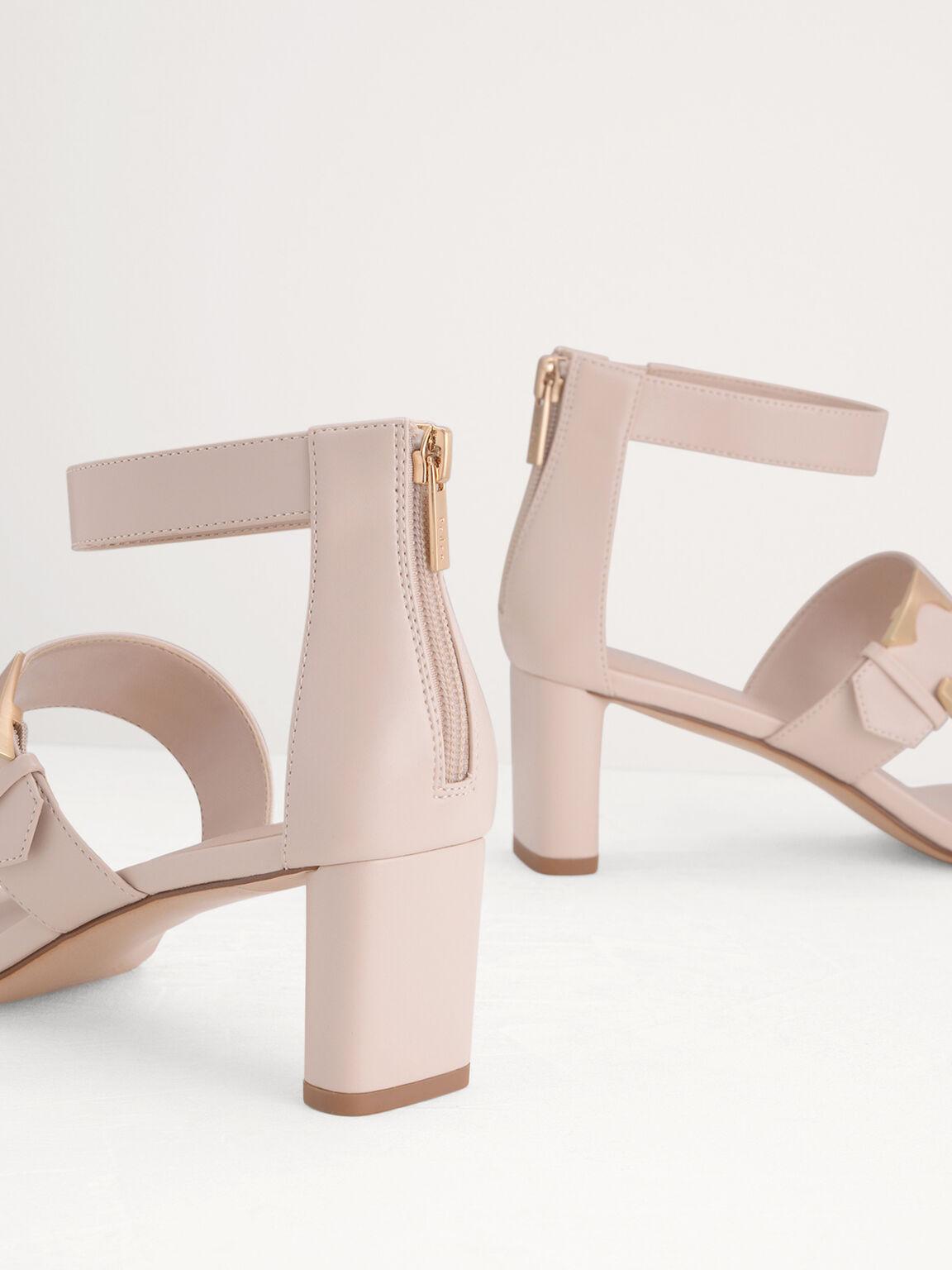 Geometric Buckle Heeled Sandals, Cream, hi-res
